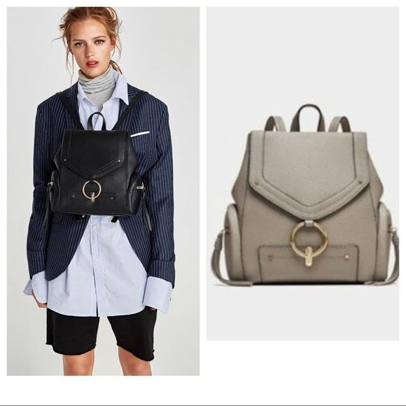 Zara Handbags - ZARA GREY BACKPACK WITH FRONT RING